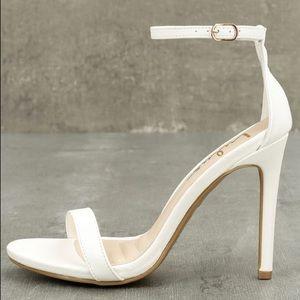 Lulu's White Ankle Strap Heels